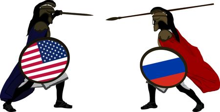 troy: american and russian warriors  vector illustration  Illustration