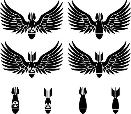 bombe atomique: bombes avec des ailes pochoirs première variante illustration vectorielle