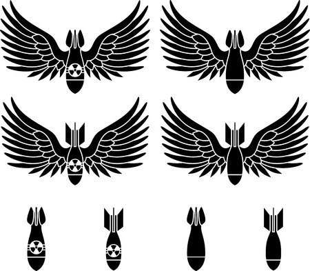 atomic: bombs with wings  stencils  first variant  vector illustration  Illustration