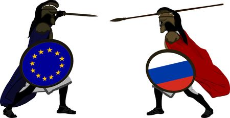hector: european and russian warriors  vector illustration  Illustration