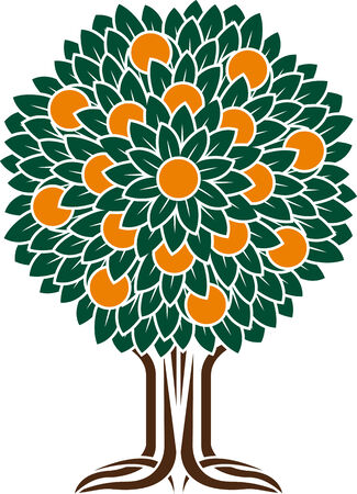 orange tree  stencil  vector illustration Vector
