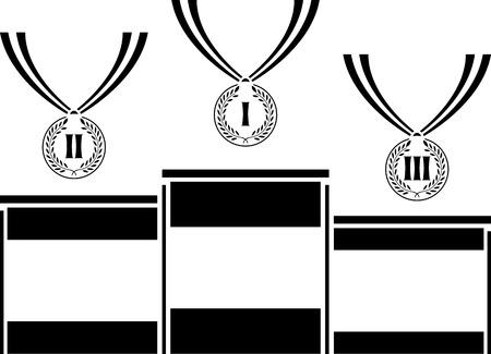 pedestal with medals  stencil  first variant  vector illustration