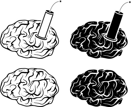 tnt: set of brains and tnt  vector illustration