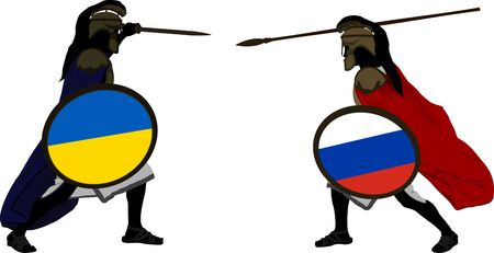 hector: ukrainian and russian warriors  vector illustration  Illustration