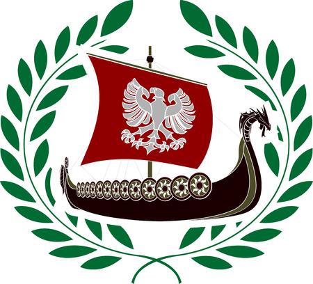 ancient ship and laurel wreath  stencil  vector illustration Vector