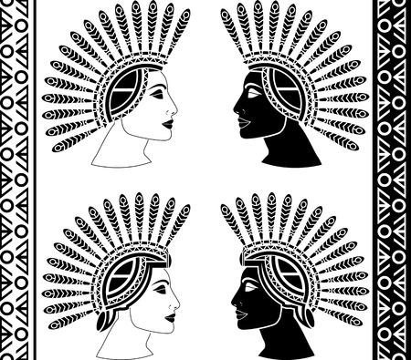 set of mayan woman profiles  vector illustration Vector
