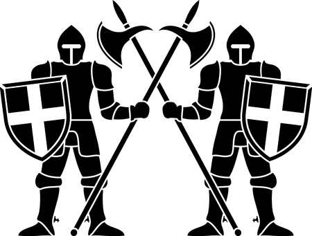crusader: two guardians  stencil  vector illustration Illustration