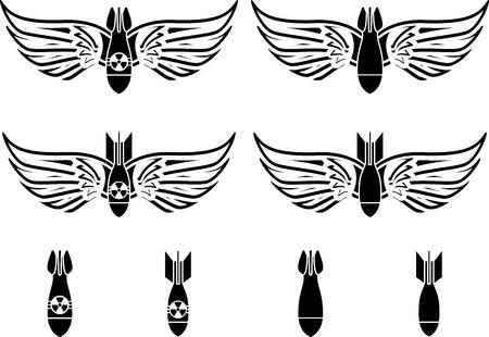 bombe atomique: bombes avec des ailes pochoirs deuxième variante illustration