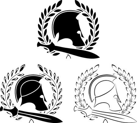 cascos romanos: conjunto de los cascos antiguos con espadas y coronas de laurel ilustración Vectores