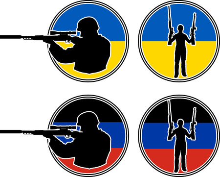 warlike: Ukrainian and pro-Russian soldiers illustration Illustration