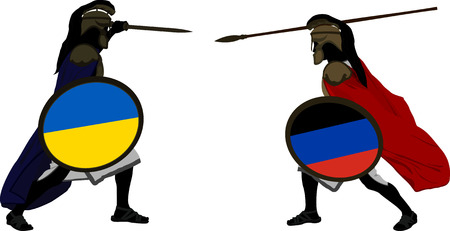hector: Ukrainian and pro-Russian warriors illustration