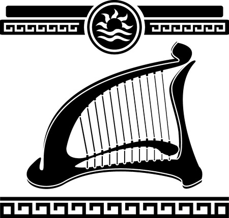 lyre: ancient harp  stencil  vector illustration