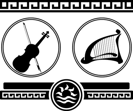 fiddlestick: silhouettes of violin and ancient harp