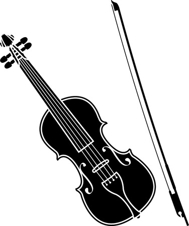 fiddlestick: violin  stencil  vector illustration