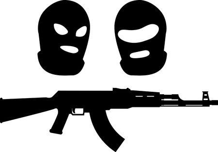 balaclavas and machine gun  vector illustration