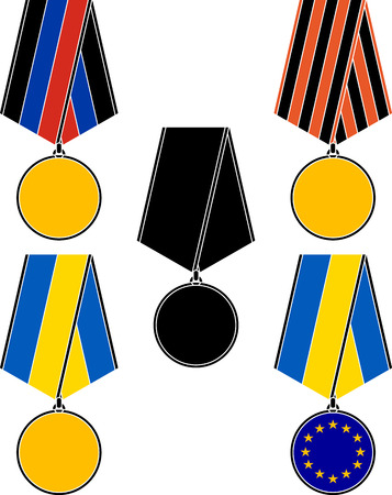 luhansk: set of ukrainian medals  vector illustration