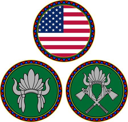 indian headdress: american flag and indian headdress illustration