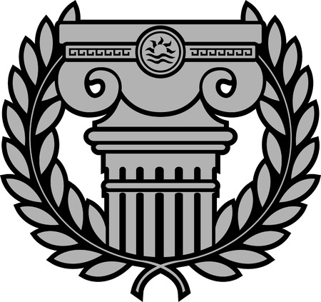 ancient ionic column with laurel wreath illustration Vector