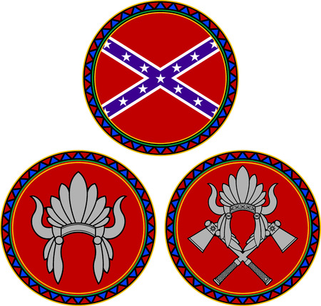 indian headdress: confederate flag and indian headdress  illustration