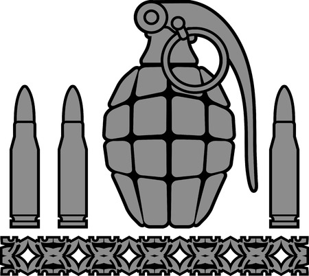 detonating: grenade and bullets illustration
