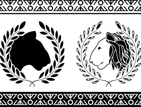 royal safari: lion heads with laurel wreath illustration Illustration