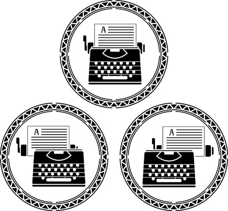 set of typewriters  stencils illustration Vector