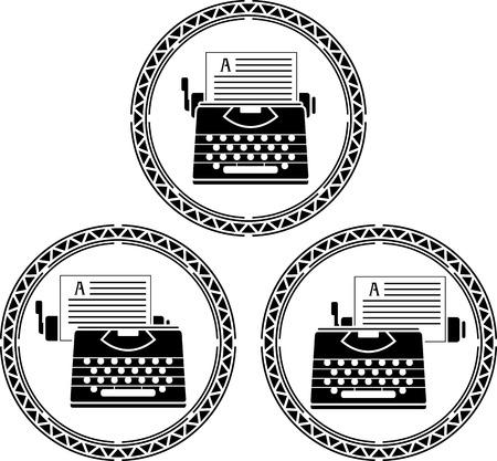 typewriter machine: set of typewriters  stencils illustration