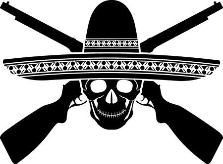 mexican hat: skull of mexican warrior illustration Illustration