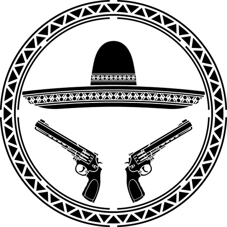 bandits: stencil of mexican sombrero and two pistols  first variant illustration