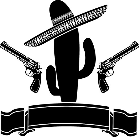 mexico cartoon: The mexican cactus and two pistols