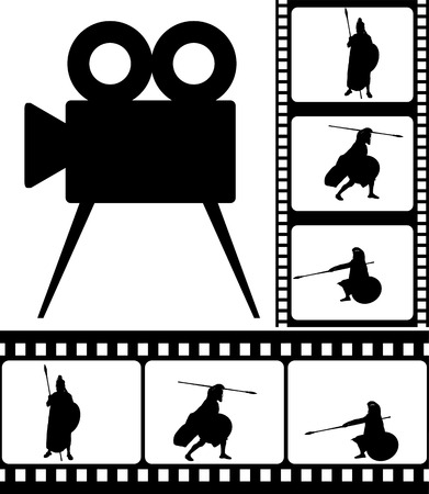 spearman: movie camera and films  vector illustration Illustration