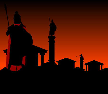 ancient greek: ancient city with guardian  first variant  vector illustration Illustration