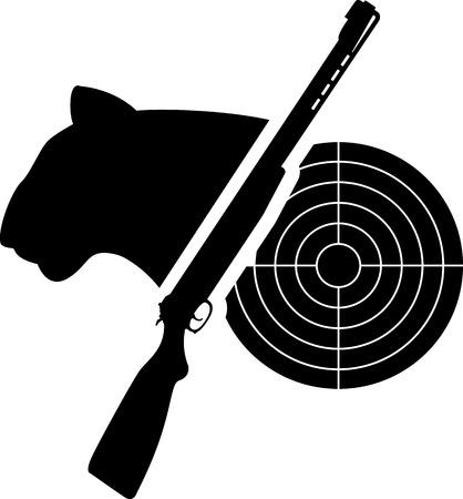 gun silhouette: puma, gun and target  vector illustration Illustration