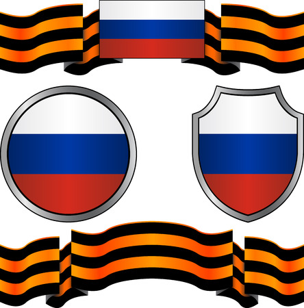 russia flag: flag of russia and georgievsky ribbon illustration Illustration