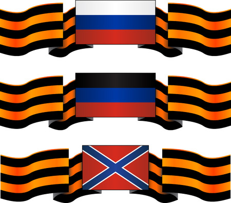 separatism: set of flags of russia, donetsk republic and novorossiya with georgievsky ribbon illustration