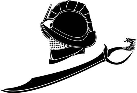 ancient roman: gladiators helmet and sword. vector illustration Illustration