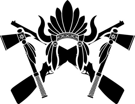 indian headdress: american indian headdress, guns and tomahawks. vector illustration