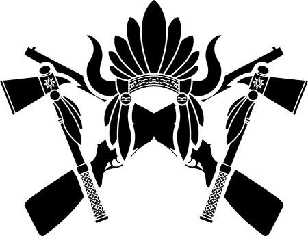 indian headdress: american indian headdress, guns and tomahawks. vector illustration