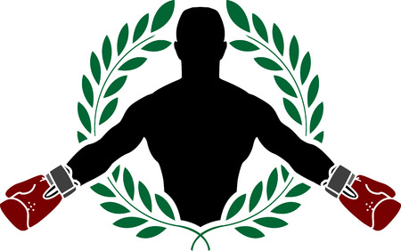 protective glove: boxer and laurel wreath. vector illustration