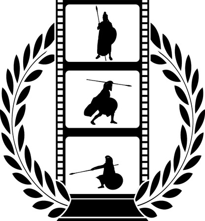 warlike: laurel wreath and film with warrior Illustration