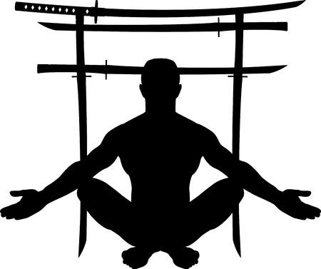 torii: hombre y torii puerta con espadas. ilustraci�n vectorial