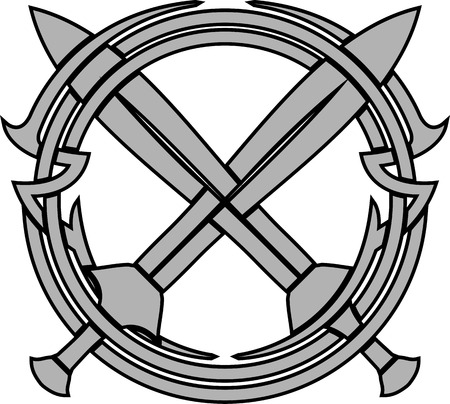 crossed swords: patr�n y las espadas cruzadas. ilustraci�n vectorial Vectores