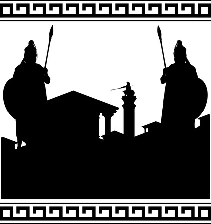 silhouette of ancient city and guardians. vector illustration Vector