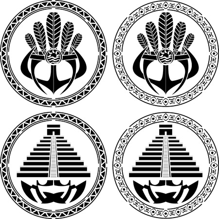 stencils of native indian american masks and pyramids. vector illustration Vector