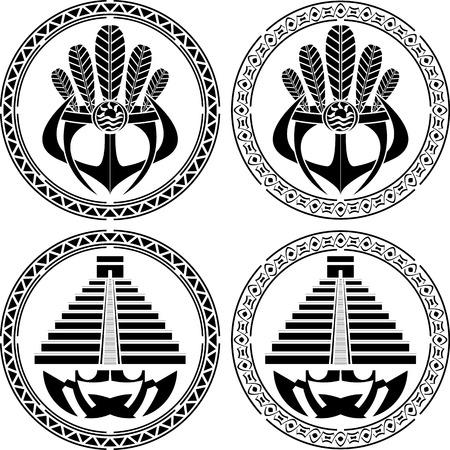 kukulkan: stencils of native indian american masks and pyramids. vector illustration Illustration