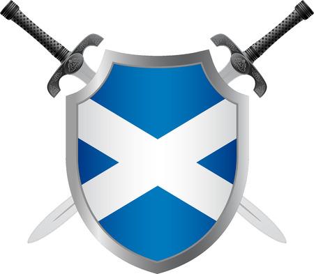 scotland flag: shield with flag of scotland.