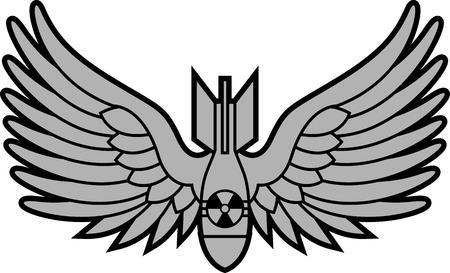 bombe atomique: bombe atomique avec des ailes. illustration vectorielle