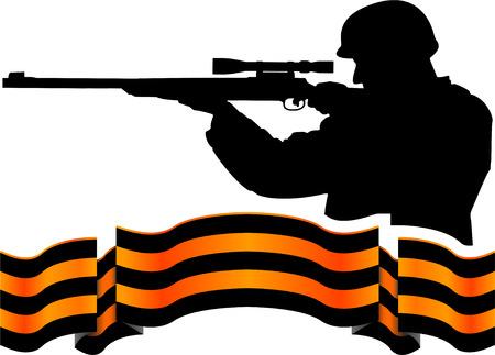 georgievsy ribbon and sniper. vector illustration
