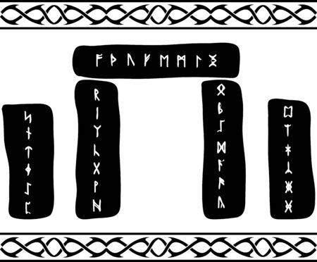 runes: runic stones. vector illustration