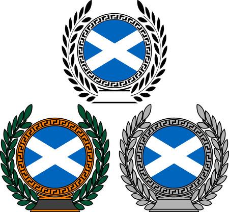 scotland flag: set of flags of scotland with laurel wreath. vector illustration